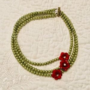 Green pearl and red flower statement necklace